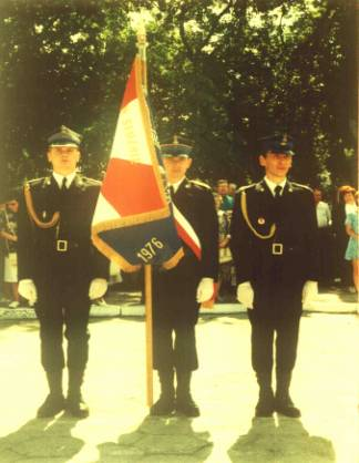 10 sierpnia 1996r. Uroczyste wręczenie sztandaru Jednostce Ratowniczo Gaśniczej PSP w Węgrowie.
